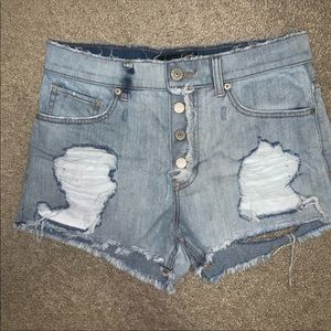 Express destroyed high waisted shorts